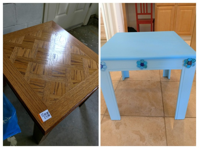 My $3.99 Night-Table Transformation using my extrascraps!