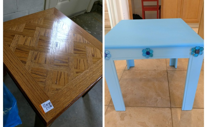 My $3.99 Night-Table Transformation using my extra scraps!